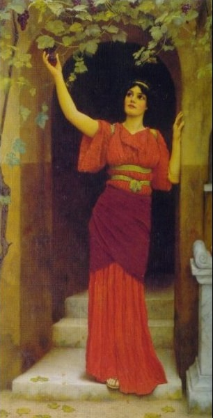 12.John-William-Godward-Young-Girl-Picking-Grapes
