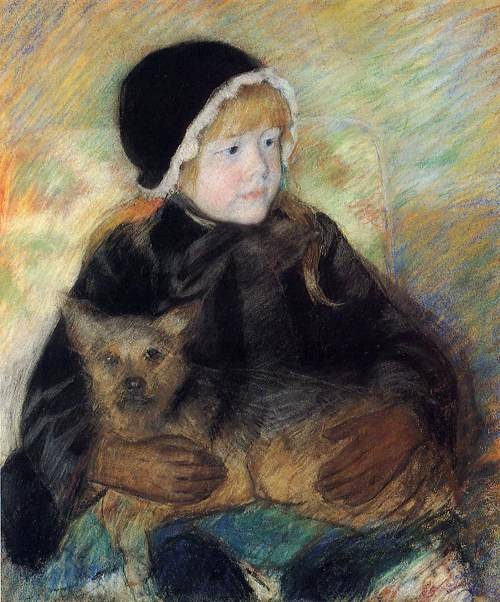 Mary Cassatt, Elsie Cassatt Holding a Big Dog