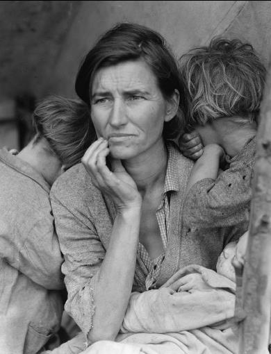 Dorothea Lange, Μετανάστης μητέρα με τρία παιδιά (1936)