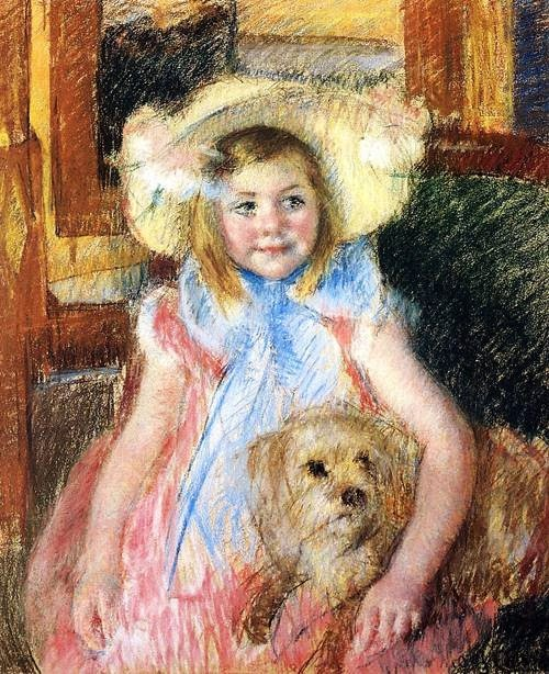 Mary Cassatt, Sara in a Large Flowered Hat Looking Right Holding Her Dog