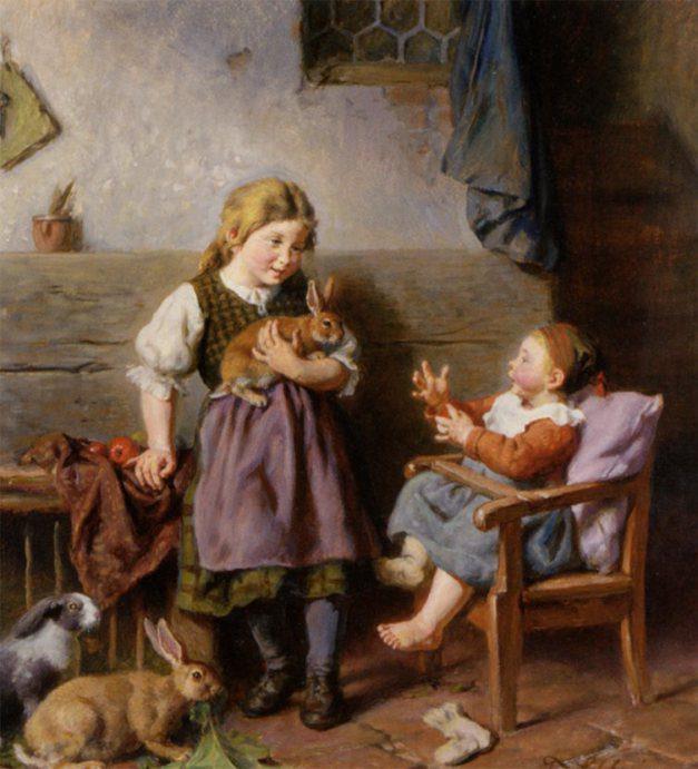 Felix Schlesinger-Children playing with rabbits