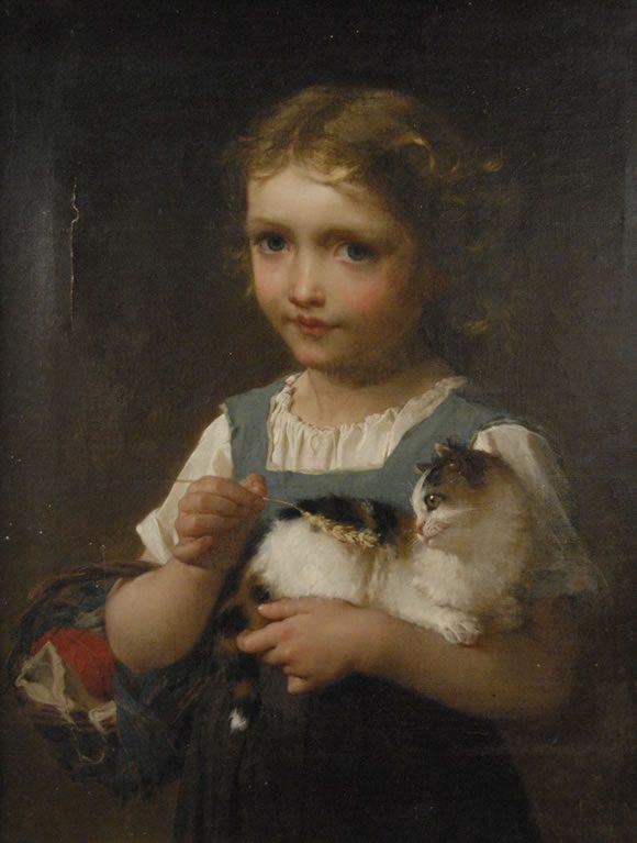 Emile Munier-Girl with kitten