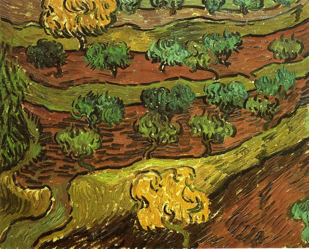 Olive Trees against a Slope of a Hill 1889, Van Gogh
