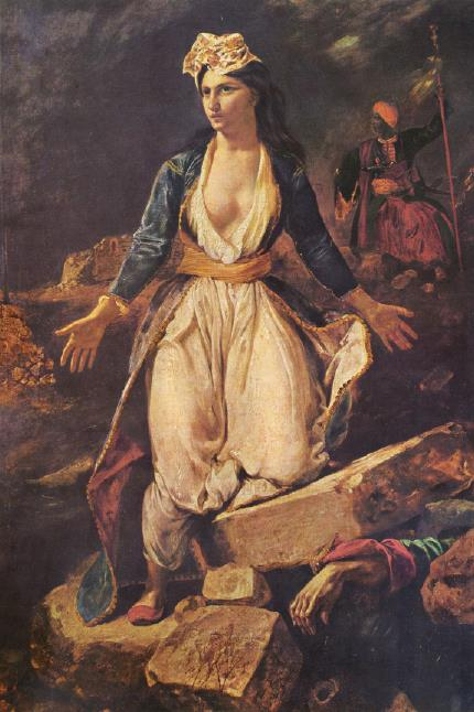 Eugene Ferdinand Victor Delacroix-Greece on the Ruins of Missolonghi (1826)