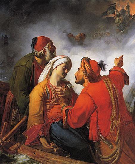 Jean Claude Bonnefond- Un officier grec blessé devant les murs d'une ville prise d'assaut, 1826