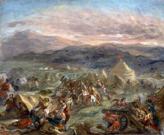 Eugene Delacroix-Botsaris surprises the turkish camp